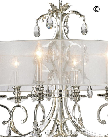 ARIA - Hampton 6 Arm Chandelier - Silver Plated - Orb Outer Shade ARIA - Hampton 6 Arm Chandelier - Silver Plated - Designer Chandelier