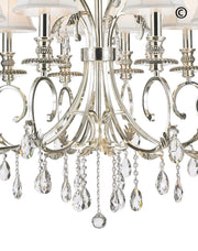 ARIA - Hampton 8 Arm Chandelier - Silver Plated - Designer Chandelier