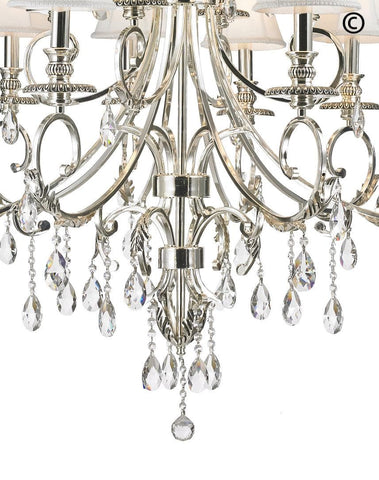 ARIA - Hampton 12 Arm Chandelier - Silver Plated - Designer Chandelier  ARIA - Hampton 12 Arm Chandelier - Silver Plated - Designer Chandelier