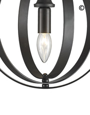 Hampton Orb - Single Light - Dark Bronze - Designer Chandelier