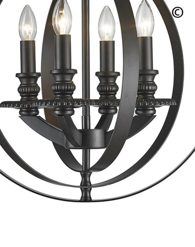 Hampton Orb - 4 Light - Dark Bronze - Designer Chandelier  Hampton Orb - 4 Light - Dark Bronze - Designer Chandelier