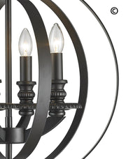 Hampton Orb - 4 Light - Dark Bronze - Designer Chandelier