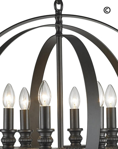 Hampton Orb - 6 Light - Dark Bronze - Designer Chandelier  Hampton Orb - 6 Light - Dark Bronze - Designer Chandelier
