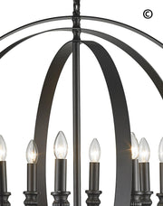 Hampton Orb - 8 Light - Dark Bronze - Designer Chandelier