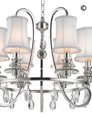 NewYork - Hampton Halo 6 Light Chandelier - Silver Plated - Designer Chandelier  NewYork - Hampton Halo 6 Light Chandelier - Silver Plated - Designer Chandelier