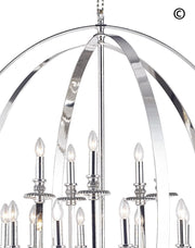 Hampton Orb - 15 Light - Silver Plated - Designer Chandelier