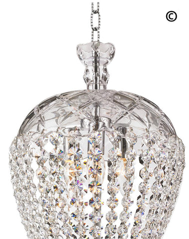 Bohemian Basket Chandelier - Width: 30 cm - Chrome Fixtures - Designer Chandelier  Bohemian Basket Chandelier - Width: 30 cm - Chrome Fixtures - Designer Chandelier