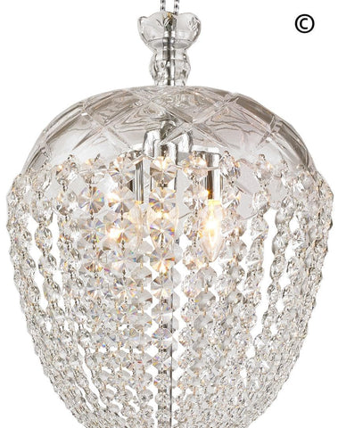 Bohemian Basket Chandelier - Width: 35 cm - Chrome Fixtures - Designer Chandelier  Bohemian Basket Chandelier - Width: 35 cm - Chrome Fixtures - Designer Chandelier