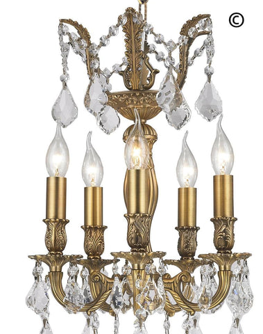 AMERICANA 5 Light Chandelier - Brass Finish - Designer Chandelier  AMERICANA 5 Light Chandelier - Brass Finish - Designer Chandelier