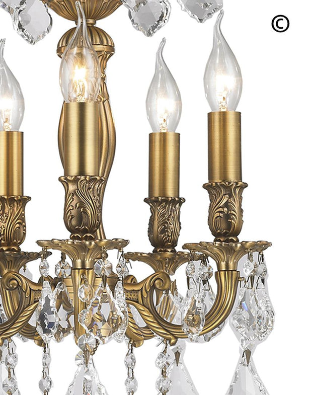 AMERICANA 5 Light Chandelier - Brass Finish - Designer Chandelier