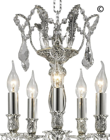 AMERICANA 5 Light Chandelier - Silver Plated AMERICANA 5 Light Chandelier - Silver Plated - Designer Chandelier