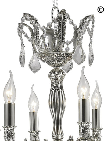 AMERICANA 6 Light Crystal Chandelier - Silver Plated AMERICANA 6 Light Crystal Chandelier - Silver Plated - Designer Chandelier