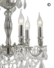 AMERICANA 6 Light Crystal Chandelier - Silver Plated - Designer Chandelier