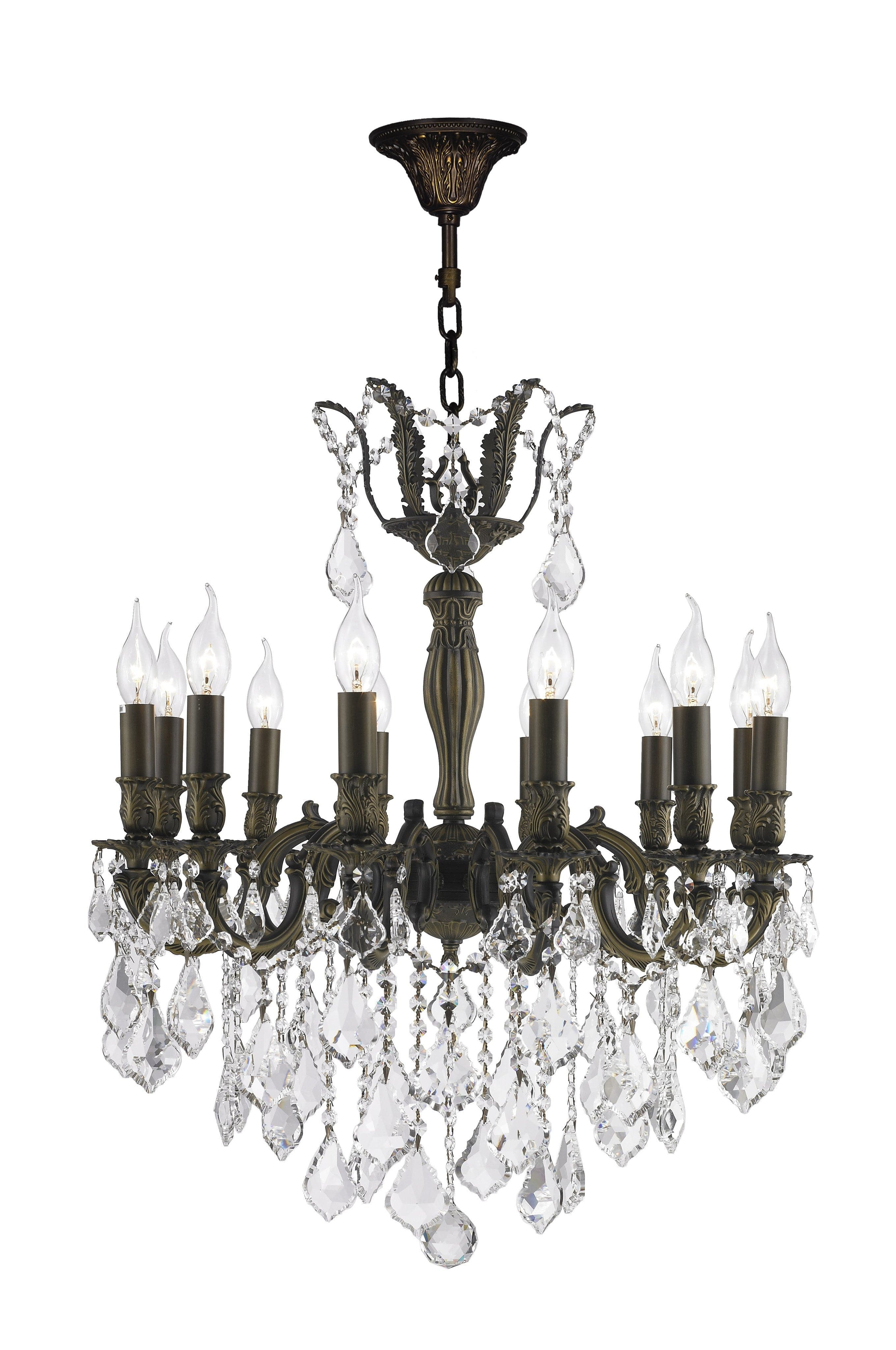 AMERICANA 12 Light Crystal Chandelier Antique Bronze Style