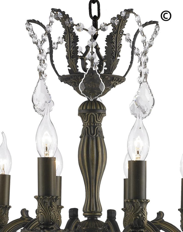 AMERICANA 12 Light Crystal Chandelier - Antique Bronze Style - Designer Chandelier