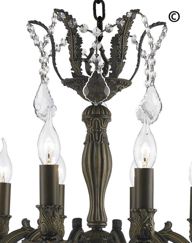 AMERICANA 12 Light Crystal Chandelier - Antique Bronze Style - Designer Chandelier  AMERICANA 12 Light Crystal Chandelier - Antique Bronze Style - Designer Chandelier