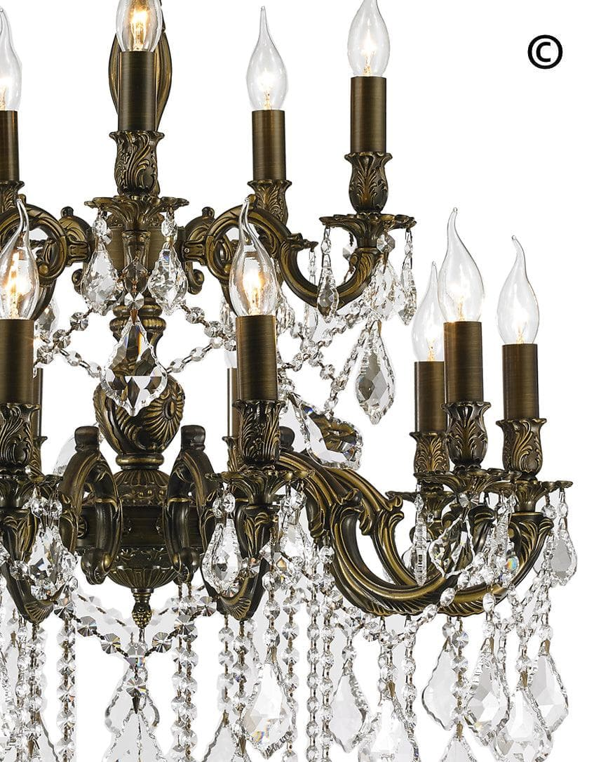 Americana 15 Light Crystal Chandelier Antique Bronze Style