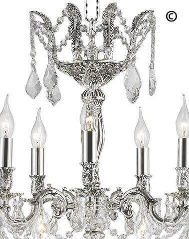Americana 15 Light Crystal Chandelier - Silver Plated - Designer Chandelier  Americana 15 Light Crystal Chandelier - Silver Plated - Designer Chandelier