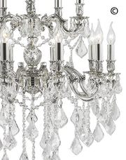 Americana 15 Light Crystal Chandelier - Silver Plated - Designer Chandelier