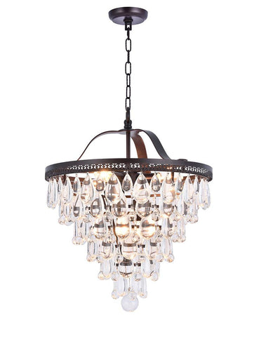 Grange Collection - Width: 45cm - Warm Bronze Finish - Designer Chandelier