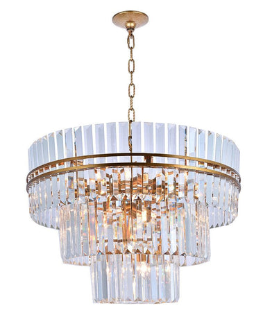 Ashton Collection - Three Tier - 80cm - Antique Gold Finish - Designer Chandelier