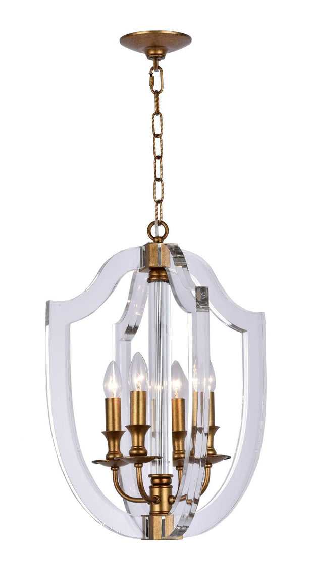 NewYork Lantern 4 Light - Antique Gold Finish - Designer Chandelier