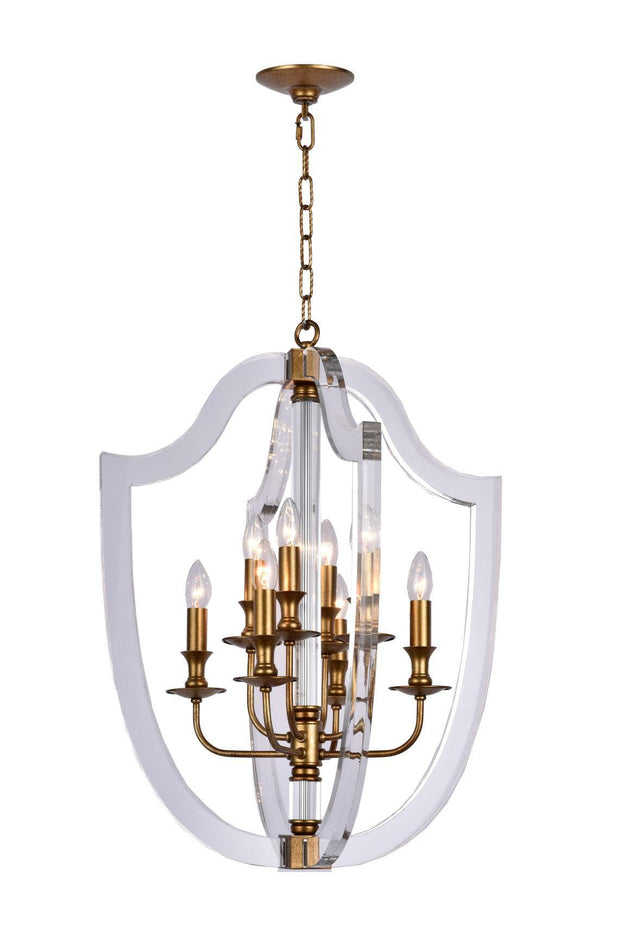 NewYork Lantern 8 Light - Antique Gold Finish - Designer Chandelier