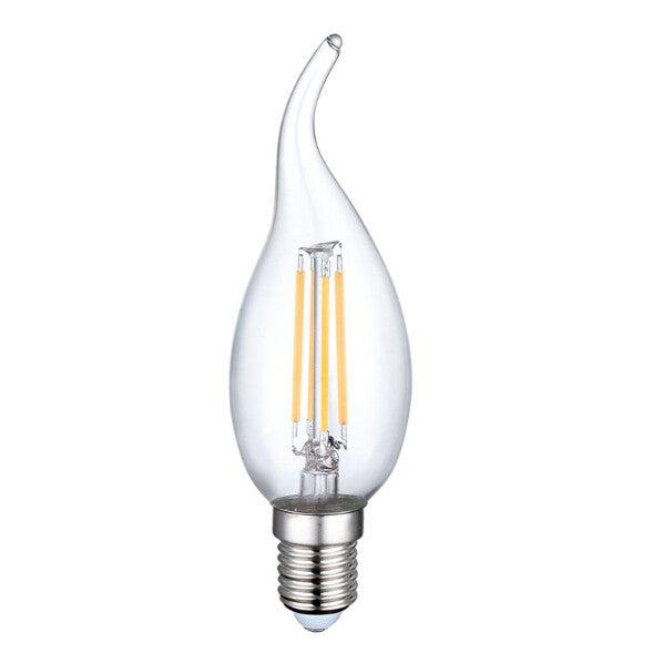 FLICKER FREE 4 Watt LED Candle Bulb E14 Socket - Dimmable Fancy Tip - Warm White (3000k) - Designer Chandelier
