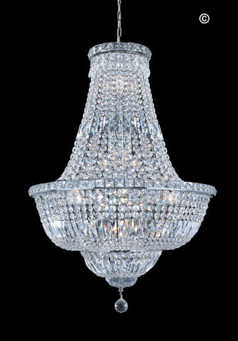 EMPRESS CRYSTAL BASKET CHANDELIER- CHROME- 15 LIGHT
