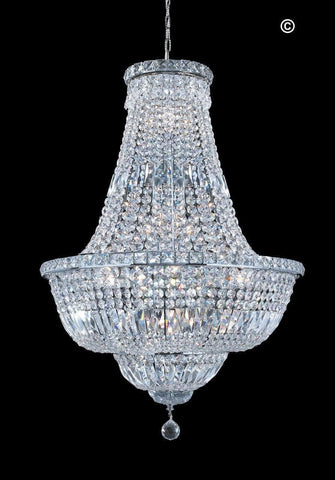 EMPRESS CRYSTAL BASKET CHANDELIER- CHROME- 15 LIGHT - Designer Chandelier