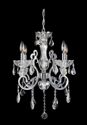 Elise 4 Arm Contemporary Chandelier - CHROME - Designer Chandelier