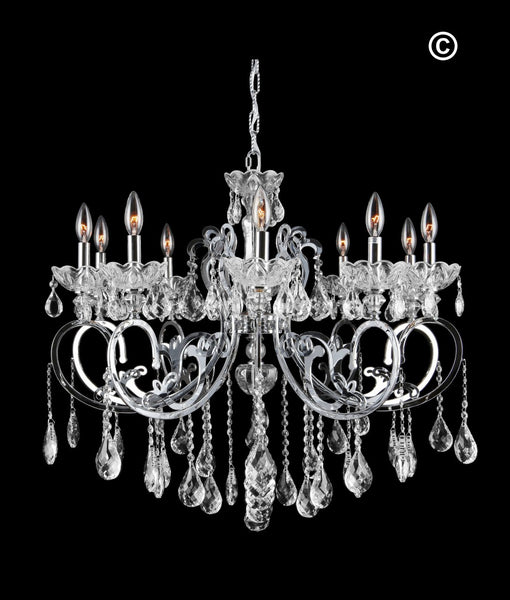Modern Arm Chandelier: Elise 10 Arm Contemporary Chandelier