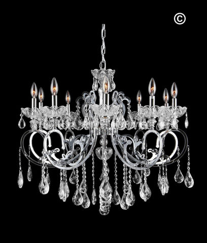 Elise 10 Arm Contemporary Chandelier - CHROME - Designer Chandelier