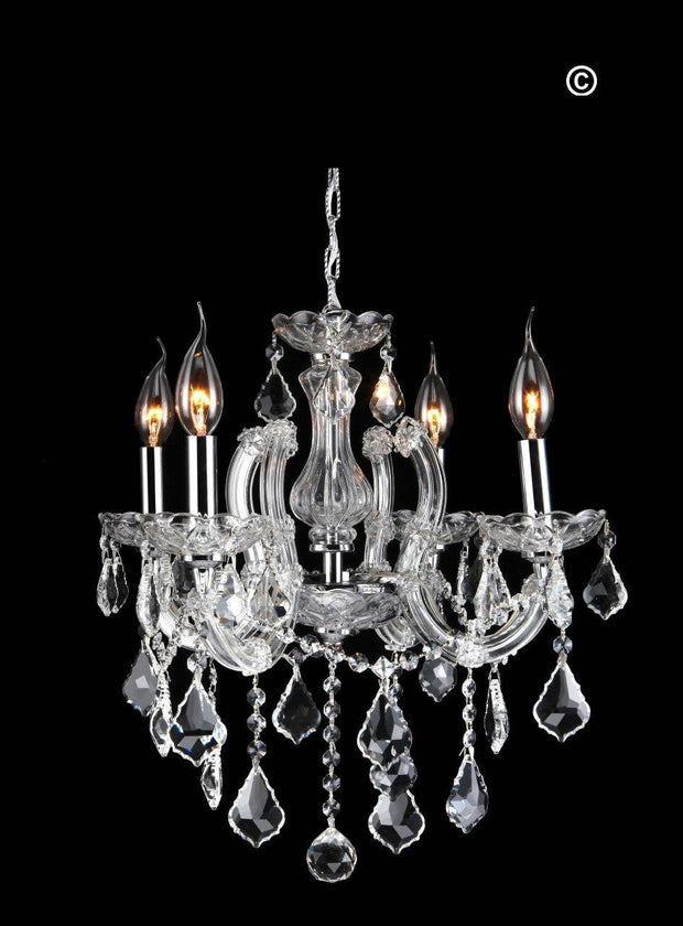 Maria Theresa 4 Light Crystal Chandelier - CHROME - Designer Chandelier