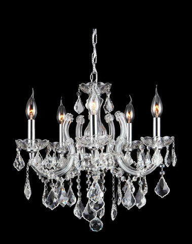 Maria Theresa 5 Light Crystal Chandelier - CHROME