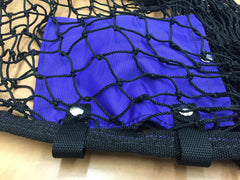Purple pouch with snap closure and 2 straps with snaps to attach to seam of round bale nets to hold excess drawcord