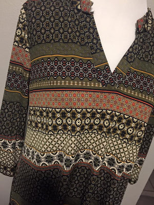 Olive Green Patterned Blouse