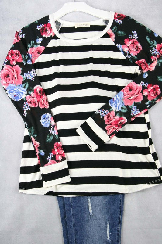 Black striped Floral