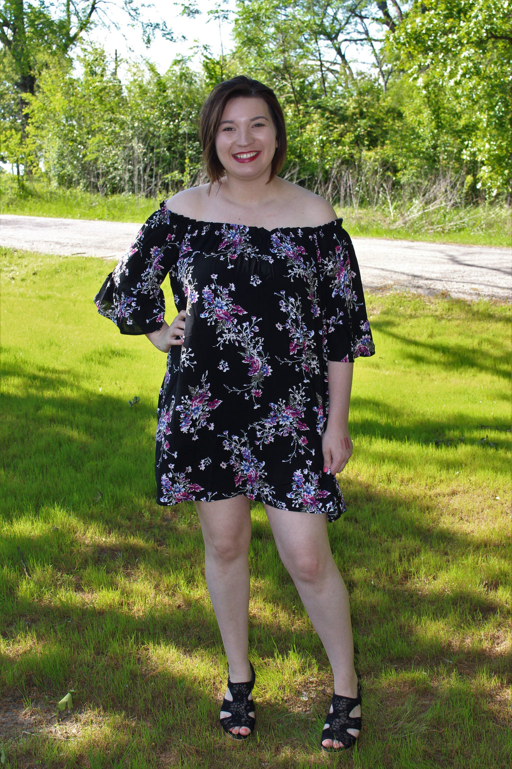 Havana Nights Off-Shoulder Dress