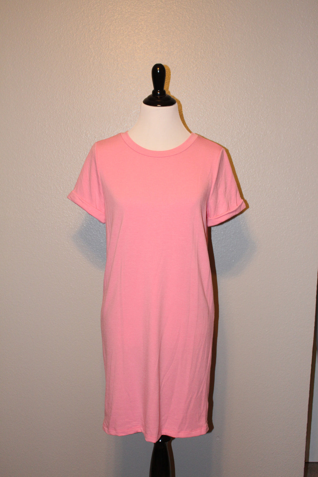 Solid Pink Shift Dress