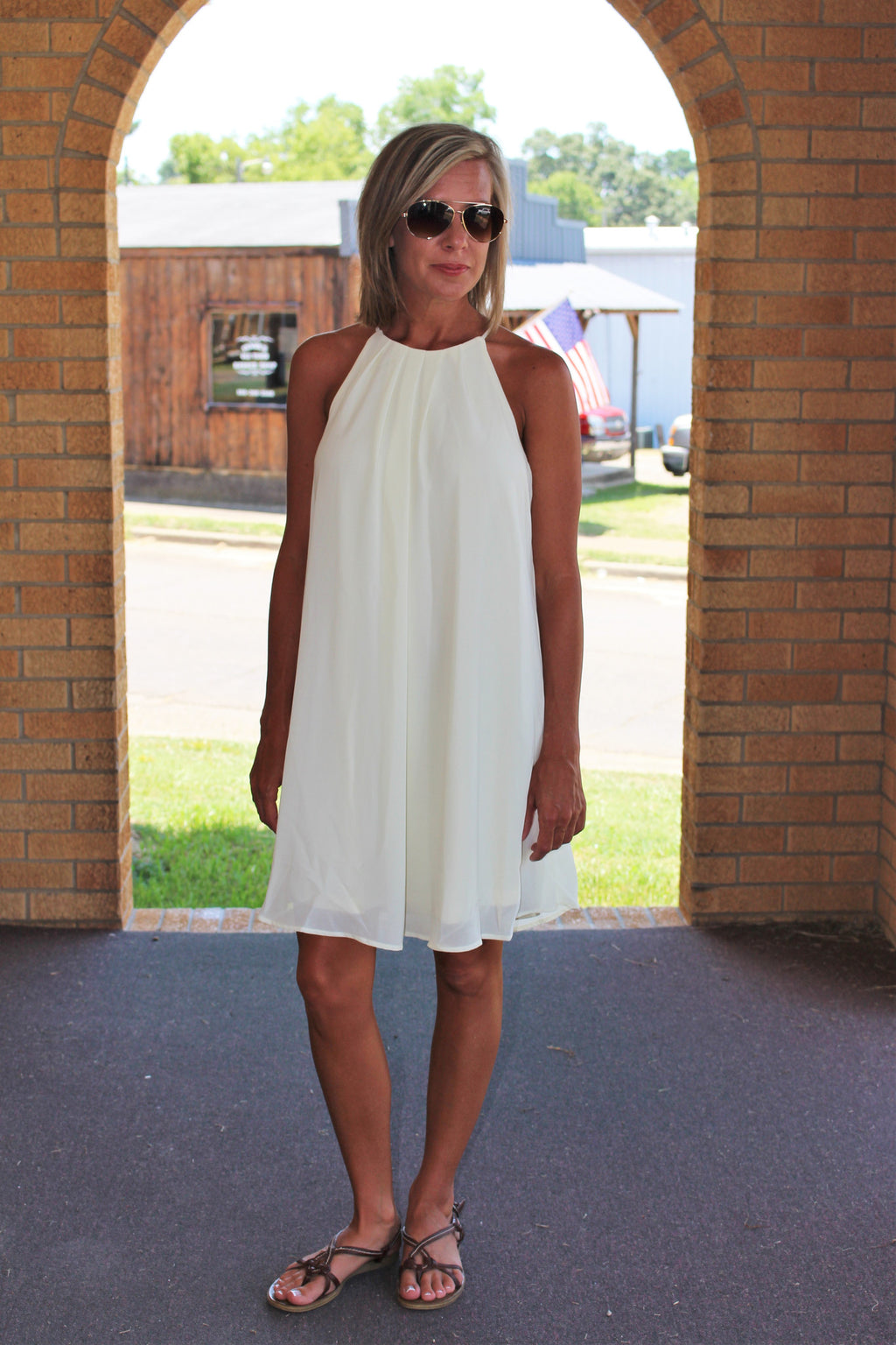 Cream Pleated Slip Dress