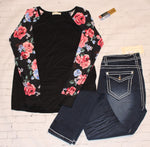 Black Floral Long Sleeve