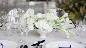 Beautiful white colour palette centrepiece set in a white compote.
