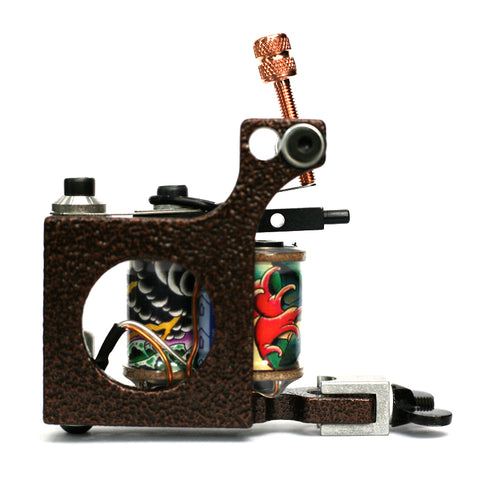 Bavarian Custom Irons 'CUBE' Liner Coil Tattoo Machine - Antique Copper Hammered