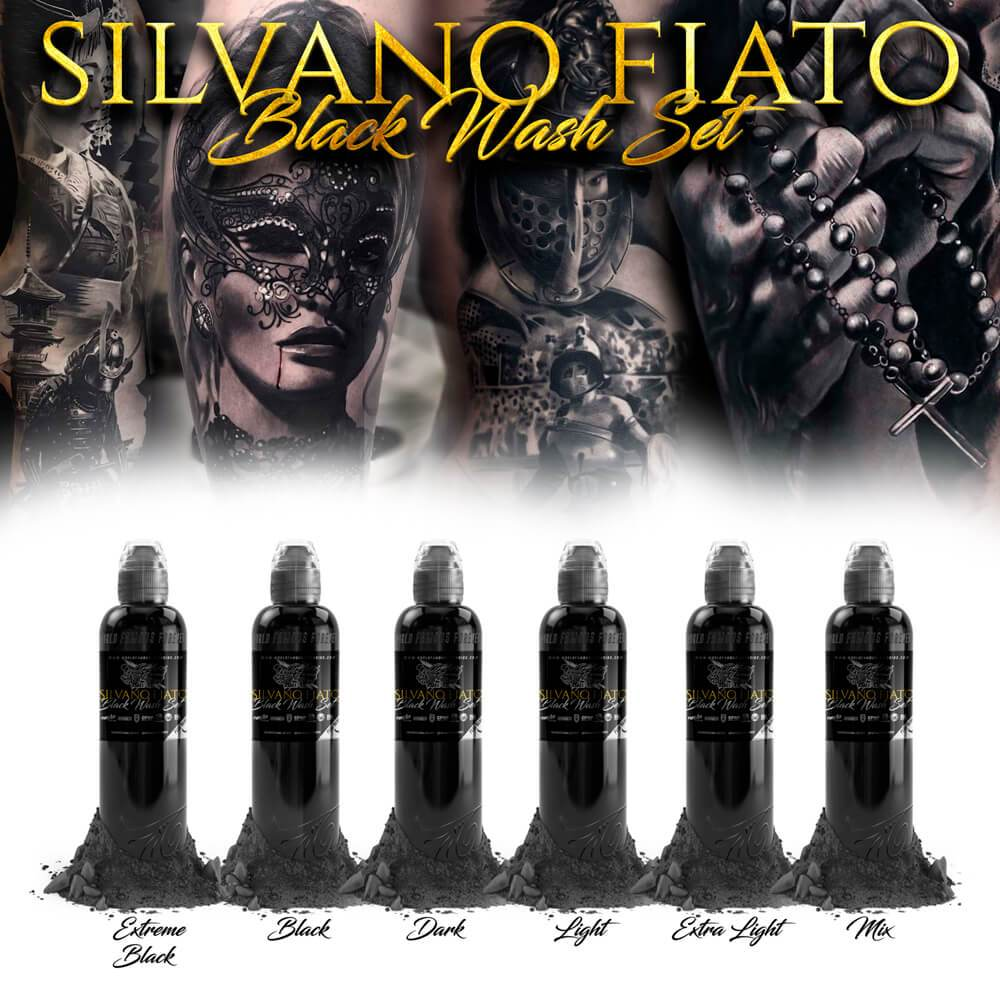 World Famous 6 bottles Silvano Fiato Black Wash set 1oz