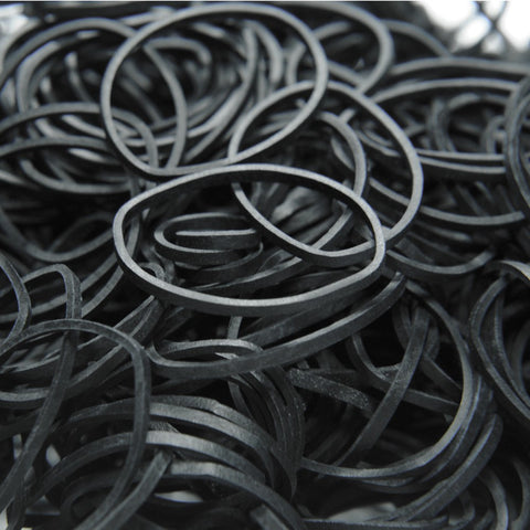 Black Rubber Bands - Pack of 100