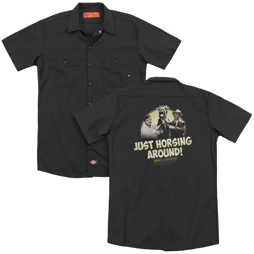 Abbott & Costello - Horsing Around Adult Work Shirt