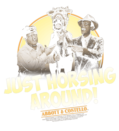 Abbott and Costello Horsing Around Juniors V-Neck T-Shirt