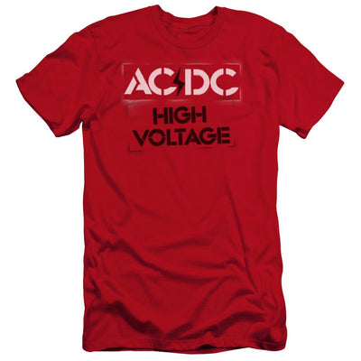 AC/DC High Voltage Stencil Men's Premium Slim Fit T-Shirt
