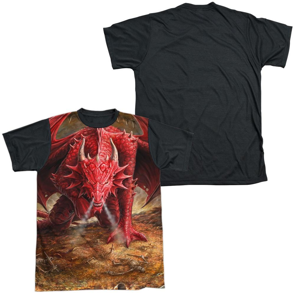 Anne Stokes - Dragon's Lair Adult Black Back 100% Poly T-Shirt
